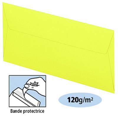 Enveloppe couleur Clairefontaine Pollen - format postal DL - 110 x 220 mm - 120 g/m² bande auto-adhésive - jaune soleil - paquet 20 unités