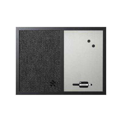 Tableau mixte en acier laqué magnétique Bi-Office - cadre noir - L60 x H45 cm - argent et tissu noir