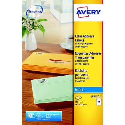Étiquettes laser transparentes Avery - 99,1 x 38,1 mm - 350 Étiquettes