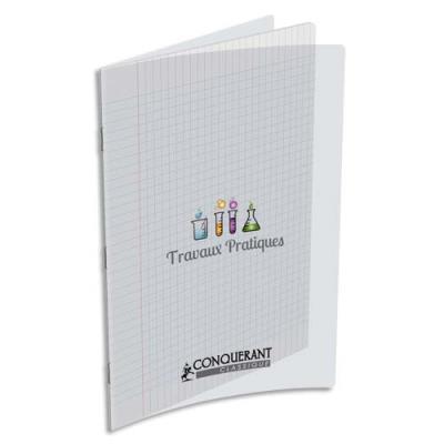 Cahier Travaux Pratique piqûre Conquerant 9 -24x32 cm - 48 pages seyès et 48 pages unies - couveture incolore