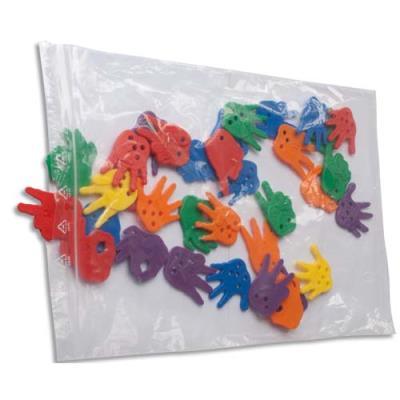 Paquet de 100 sachets transparents - 16 x 22 cm - fermeture rapide - polyéthylène 50 µm (photo)