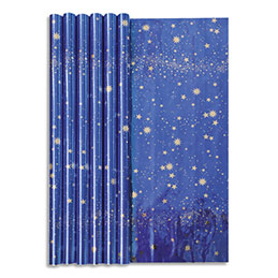 Papier cadeau Clairefontaine - 60 g - 1,5 x 0,70 m - ciel étoilé bleu métal - rouleau (photo)