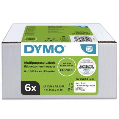 Étiquettes multi-usages S0722540 pour titreuse labelWriter 57 x 32 mm - noir sur fond blanc - paquet 6 rouleaux