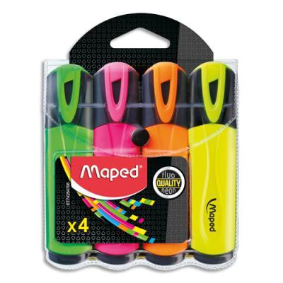 Surligneur Maped Fluo'peps classic - sous pochette - vert, rose, jaune, orange