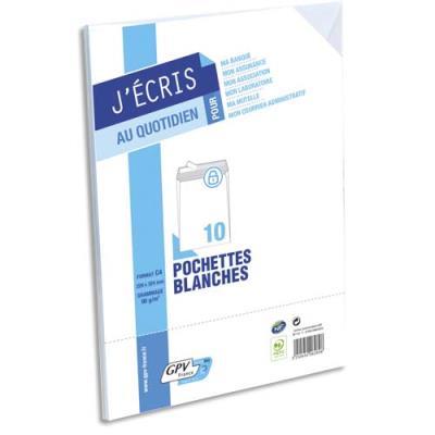Pochettes 229x 324 GPV - blanches - auto-adhésives - 90 g - paquet de 10