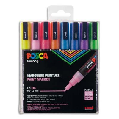 Coffret Uniball de 8 marqueurs peinture Posca pailletés, pointe fine, couleurs assorties (photo)