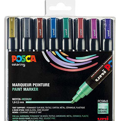 Coffret Uniball de 8 marqueurs peinture Posca métallisés, pointe moyenne, couleurs assorties (photo)