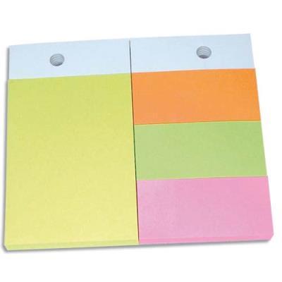 Recharges pour support format A6 - 1 bloc 102x75mm et 3 blocs 34x75mm - coloris néons