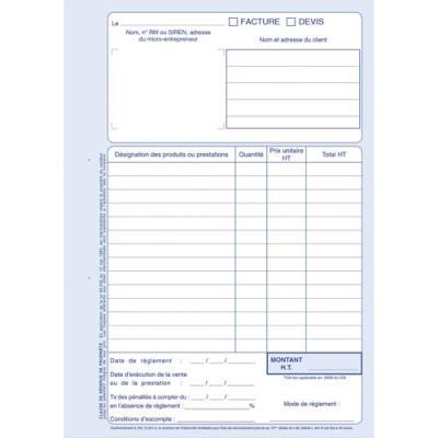 Manifold autocopiant auto-entrepreneur FACTURES - format 21x29,7 cm - 40 feuillets dupli (photo)