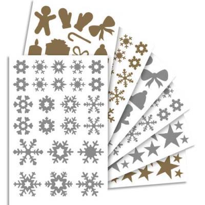 855 gommettes Maildor Initial métallisées or, argent thème Noël assorties (photo)