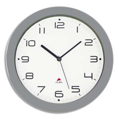 Horloge murale à mouvement quartz Hornew diamètre 30 cm - gris métal (photo)