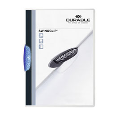 Chemise de présentation à clip Swingclip Durable - clip pivotant bleu translucide - format 22 x 31 cm - 30 feuilles (photo)