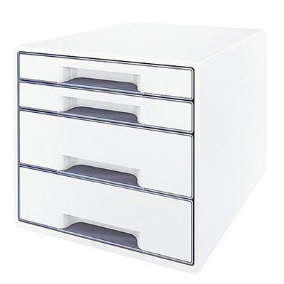 Casier de bureau Leitz WOW en polystyrène - 287 x 363 x 270 mm - blanc/gris (photo)
