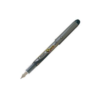 Stylo-plume Pilot V-Pen - pointe moyenne de 0,4 mm - corps gris - encre bleue (photo)