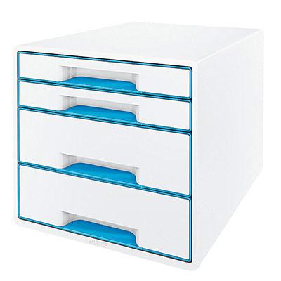 Casier de bureau Leitz WOW en polystyrène - 287 x 363 x 270 mm - blanc/bleu (photo)