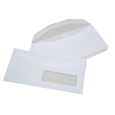 Boîte de 1000 enveloppes La Couronne insertion mécanique format 114 x 229 mm - fenêtre 35 x 100 - velin blanc - 80g - NF (photo)