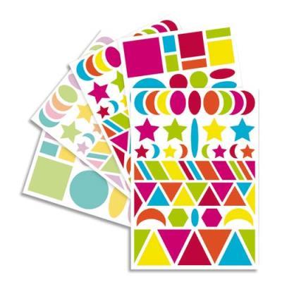 Sachet de 20 planches 14,8x21cm, 940 gommettes Baby géométriques couleur vif/pastel assorties