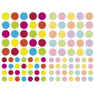 Sachet de 4 planches 10,5x16cm, 232 gommettes Initial rondes couleurs vif/pastel assorties