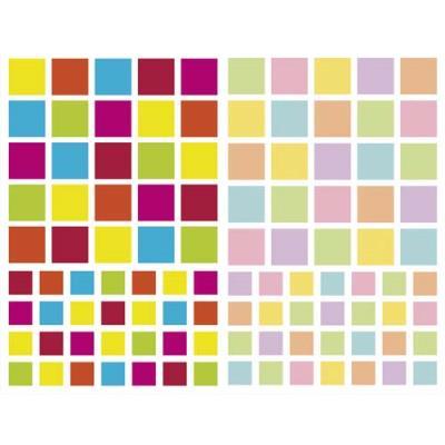 Sachet de 4 planches 10,5x16cm, 212 gommettes Initial carré couleurs vif/pastel assorties