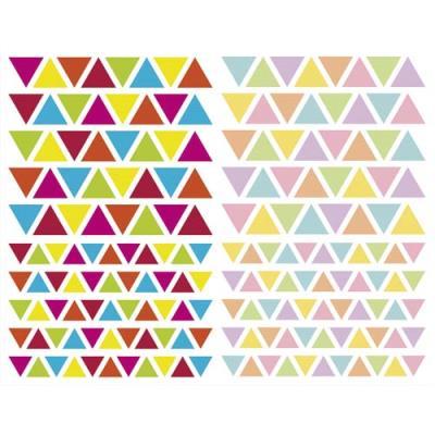 Sachet de 4 planches 10,5x16cm, 380 gommettes Initial triangle couleurs vif/pastel assorties