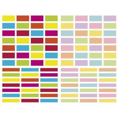Sachet de 4 planches 10,5x16cm, 196 gommettes Initial rectangle couleurs vif/pastel assorties