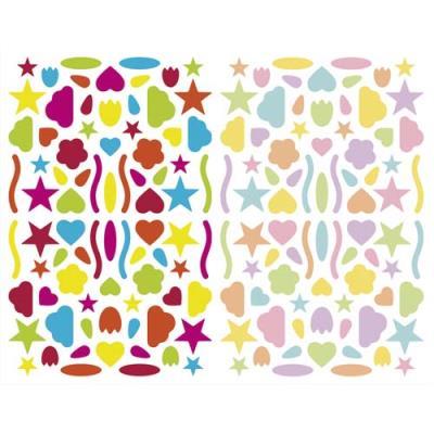 Sachet de 4 planches 10,5x16cm, 320 gommettes Initial multiformes couleurs vif/pastel assorties