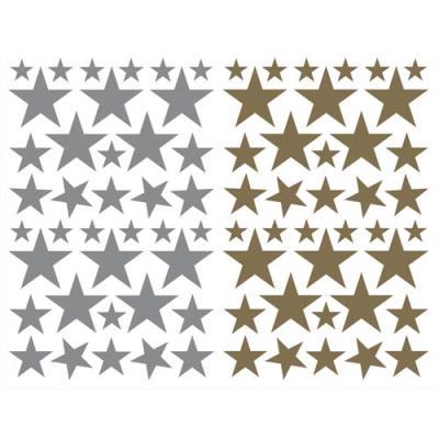 Sachet de 4 planches 10,5x16cm, 152 gommettes Initial étoile couleurs or/argent assorties