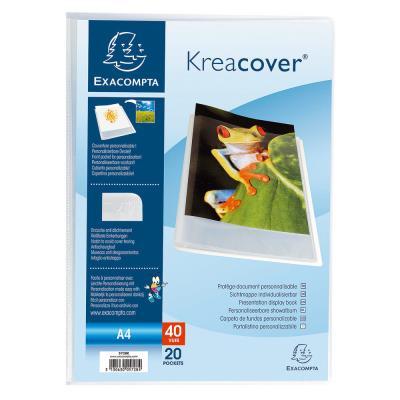 Porte-vue Exacompta Kreacover A4 20 pochettes transparentes couverture personnalisable semi-rigide polypropylène recyclé transparent
