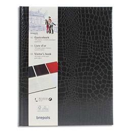 Livre d'or Brepols BELLEGANZA - 23,5x29,7cm - 160p unies ivoires - couverture grain crocodile noir (photo)