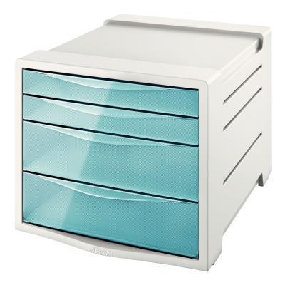 Bloc de classement Esselte Colour'Ice - 14 L - L24,5 x H36,5 x P28,5 cm - 4 tiroirs - bleu