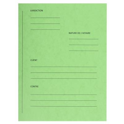 Dossiers de plaidoirie pré-imprimés Exacompta Pour / Contre - carte 265 g - vert - paquet de 25