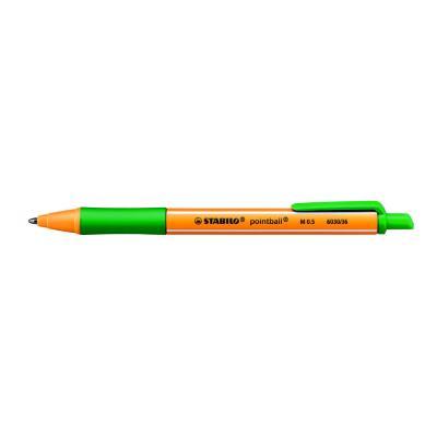 Stylo bille rétractable Pointball Stabilo - avec zone de préhension - pointe moyenne - corps en plastique vert/jaune - encre verte