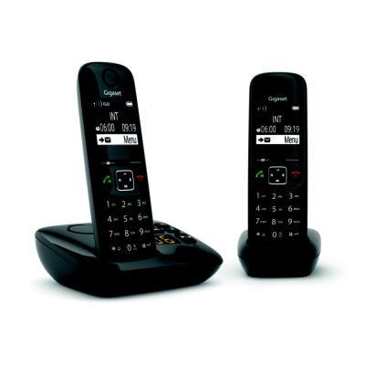 Téléphone sans fil AS690A Duo avec répondeur Gigaset - noir (photo)