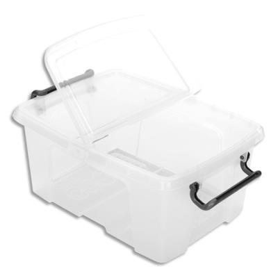 Boîte de rangement en plastique Strata - 12 L - couvercle clipsé - dim int 22,1 x 31,5 x 15,6 cm (photo)