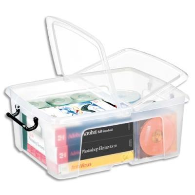 Boîte de rangement en plastique Strata - 24 L - couvercle clipsé - dim int 31,7 x 40,2 x 17,5 cm (photo)