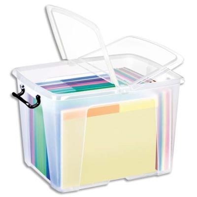 Boîte de rangement en plastique Strata - 40 L - couvercle clipsé - dim int 30,3 x 38,9 x 30,4 cm (photo)
