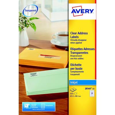 Étiquettes transparentes Avery pour imprimante jet d'encre J8560 - 63,5 x 38,1 mm - 21 Étiquettes par feuilles - paquet 525 unités