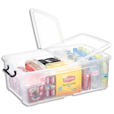 Boîte de rangement en plastique Strata - 50 L - couvercle clipsé - dim int 36 x 59,1 x 21,6 cm (photo)