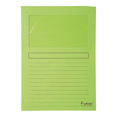 Chemises à fenêtre Forever 80 feuilles A4 130 g/m² carton comprimé recyclé vert clair lot de 100 - paquet 100 unités