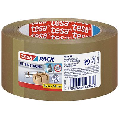Ruban adhésif d'emballage tesapack PVC Ultra Strong 65 microns - 50 mm x 66 m - havane