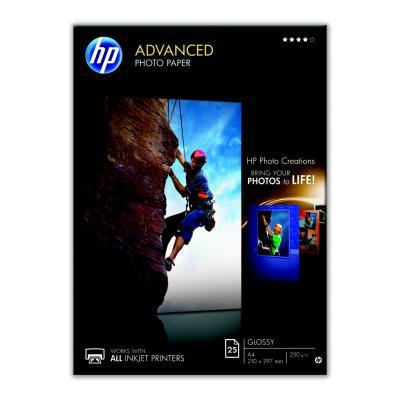 HP Advanced Glossy Photo Paper - brillant - A4 (210 x 297 mm) - 250 g/m² - 25 feuille(s) papier photo - pour Envy 50XX; Ink Tank Wireless 410; Officejet 52XX; Smart Tank Plus 55X, 571, 655