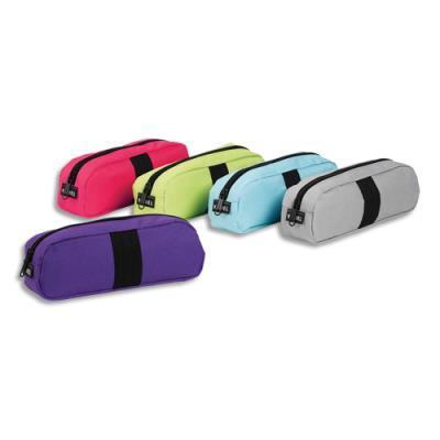 Trousse ovale Viquel Stripe - 22 x 7,5 x 5 cm - nylon assortis : turquoise, vert, rose, violet, gris