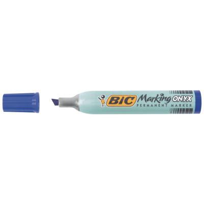 Marqueur permanent Onyx Marker 1591 - pointe biseau - corps métal grande contenance - encre bleue