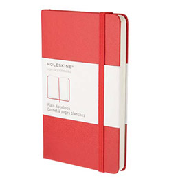 Carnet de note Moleskine - couverture rigide - 9x14cm - 192 pages - pages unies blanches - coloris rouge (photo)
