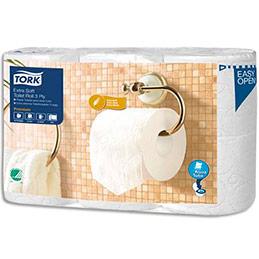 Papier toilette Tork - 3 plis - mandrin Aquatube biodégradable - lot de 6 rouleaux de 170 feuilles (photo)