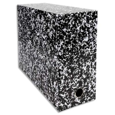 Boîte transfert marbrée Exacompta Anoney - carton rigide recouvert de papier vernis - dos 12 cm - blanc