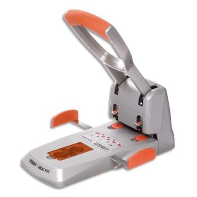 Perforateur 2 trous grande capacité Rapid HDC 150 - 150 feuilles - coloris orange / argent (photo)