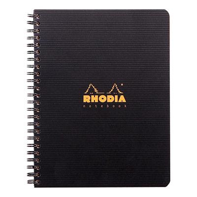 Cahier spirale Rhodia 16x21cm - 160 pages lignée 6mm perforées 4 trous - noire polypro