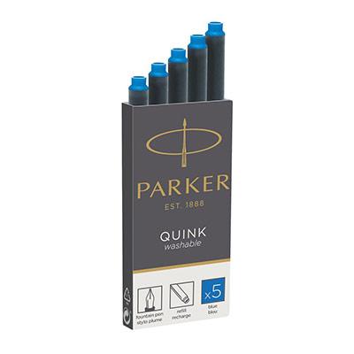 Cartouche d'encre Quink pour stylo-plume - encre effaçable bleue (photo)