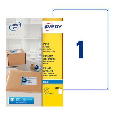 Etiquettes jet d'encre Avery J8167 - 25 planches - 199,6 x 289,1 mm - blanc - boite de 25